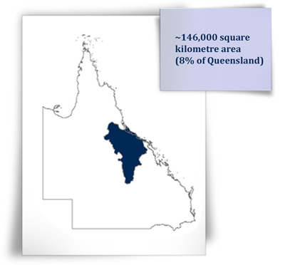 ~146,000 square kilometre area (8% of Queensland)